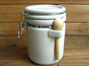 zakka杂货 陶瓷密封罐 干货罐 零食罐 杂粮罐 防潮罐  带勺特大,创意礼品,
