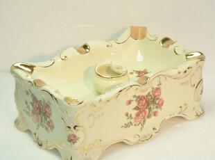 潮商欧式描金彩绘 象牙瓷 欧式家居家具 烟灰缸创意礼品 陶瓷工艺,创意礼品,