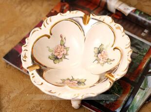 描金象牙瓷烟灰缸 烟缸 外贸家居水果糖果盘陶瓷创意摆件,创意礼品,