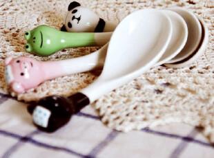 小可爱 动物陶瓷勺 汤勺 调羹 勺子 小调羹 动物勺 杂货 ZAKKA,勺筷,