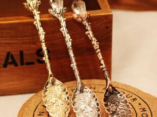海芋家 zakka杂货 森系小树枝柄雕花面咖啡勺/冰激凌勺,勺筷,