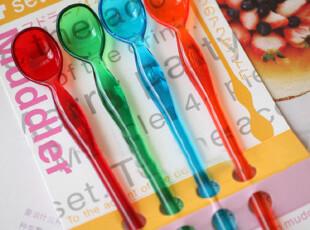 特 日本订单 透明果冻色 超长长勺|搅拌勺|搅拌棒 4只入,勺筷,