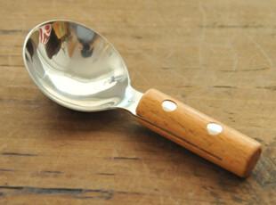 日式 不锈钢木柄冰激凌勺 zakka 杂货,勺筷,