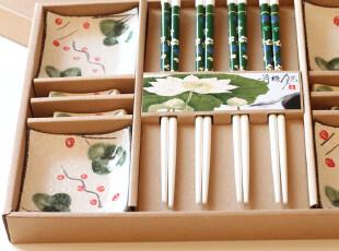 出口.寿司用具套装筷碟筷架组合12件套.水墨荷.精美礼盒.包邮Y099,勺筷,
