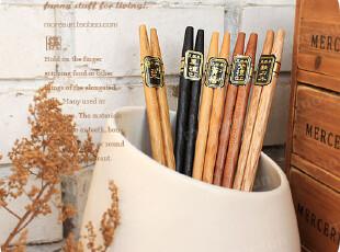 木箸,味赏。出口日单 实木筷子 无漆无蜡 环保原生木 5双套,勺筷,