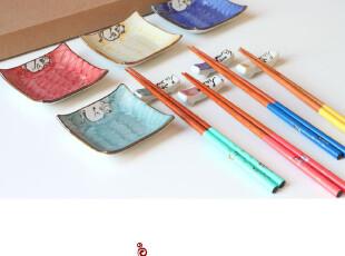 寿司用具套装筷勺碟筷架组合12件套.招财猫.精美礼盒.包邮Y098,勺筷,