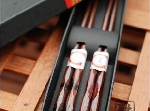 外贸 红木凹凸天削头樱花情侣筷子套装 结婚礼物 情人节礼物,勺筷,