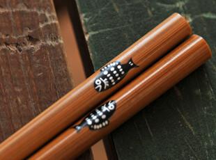 日式碳化木筷(胖鱼) 木箸 天然木制筷子 zakka 杂货,勺筷,