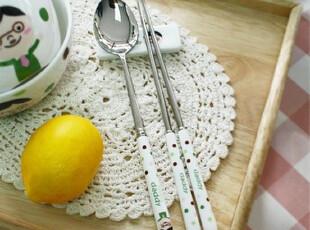 『韩国进口家居』K771 不锈钢陶瓷手柄勺子+筷子套装 爸爸款,勺筷,