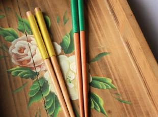 小北家-SC20 绿色黄色绕线 防滑 筷子 木箸/筷 出口日本 两款可选,勺筷,