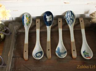 掌柜推荐!~古雅~ 复古花纹 陶瓷勺 咖啡勺 ZAKKA 6款可选,勺筷,