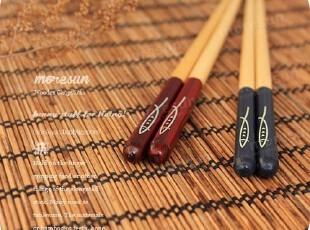 成双成对の秋刀鱼。出口日单 筷尖独特处理  实木筷子 情侣筷子,勺筷,