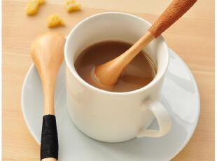 默默爱♥创意家居 zakka风 天然木质 柄部绕线 勺子 木勺搅拌勺,勺筷,
