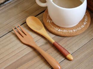 千度悠品 zakka 日式杂货 木勺 木叉 咖啡勺 搅拌勺 勺子 叉子,勺筷,
