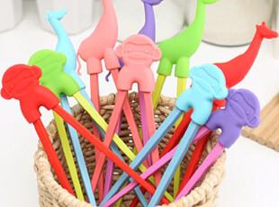 懒角落★创意家居 糖果色硅胶套 可爱动物 美耐瓷筷子 35425,勺筷,