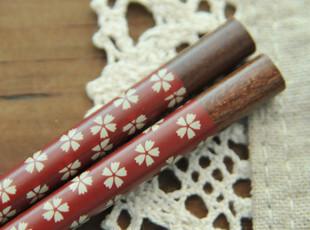 日式 红底白色小樱花 木箸 天然木制筷子 zakka 杂货 两款可选,勺筷,