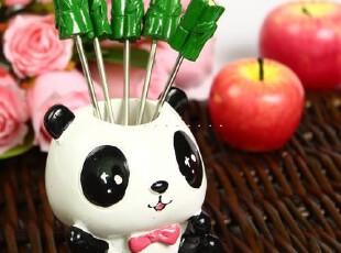 超萌小熊猫水果叉 水果签 树脂糕点水果叉套装 五叉,勺筷,