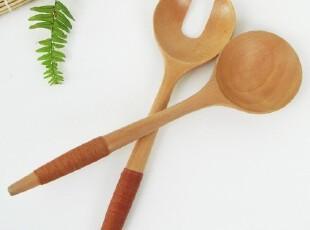 zakka 大号缠线木勺 木叉 外贸环保餐具 单个的价格,勺筷,