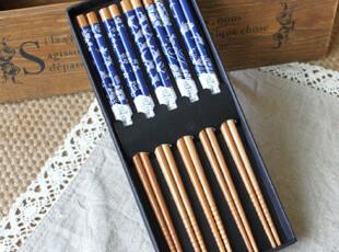 日式 和风 餐具 zakka 竹制 竹筷 筷子 礼品套装 礼盒 五色吉祥花,勺筷,