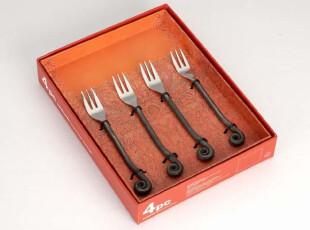 出口加拿大gs18/10不锈钢手工异型水果叉子甜品叉沙拉叉子4件套装,勺筷,