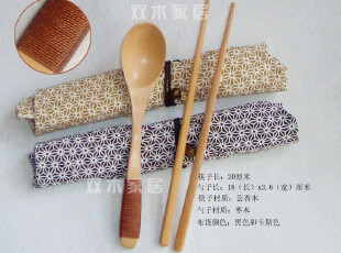 (3套包邮)热销|和风布袋|环保筷子+勺子套装 日本便携式餐具,勺筷,