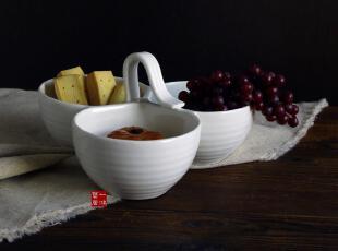 外贸陶瓷 出口餐具 三连碗  多功能碗 1.06kg,勺筷,