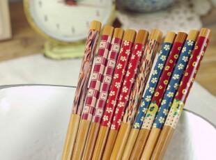 素雅风木制碎花筷 筷子 家庭 礼品筷 韩国筷,勺筷,