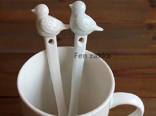 FEN ZAKKA 杂货 陶瓷雀仔小勺 咖啡勺 汤匙 (两色可选择),勺筷,