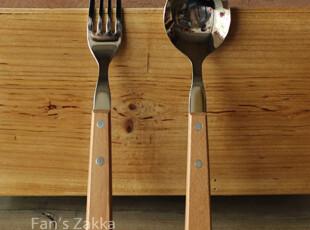 Fan's zakka杂货 不锈钢木柄大号勺 叉,勺筷,