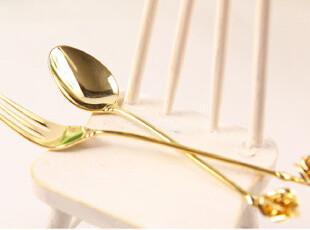 『韩国网站代购』彰显贵气 金色玫瑰咖啡叉勺3个装,勺筷,