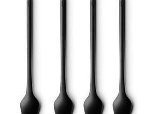 丹麦menu 拿铁勺/咖啡勺四个装 黑色简约调羹4664439特价,勺筷,