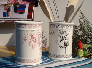 出口韩国陶瓷筷子筒收纳桶餐具筒收纳筒筷筒,筷笼送4小件2色可选,勺筷,
