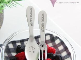 『韩国进口家居』B707 可爱俏皮笑脸儿童金属勺子&叉子,勺筷,