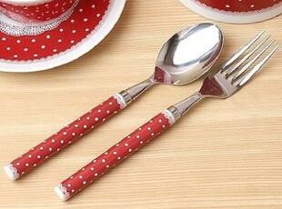 『韩国进口家居』T435 可爱蕾丝边红色水玉点点勺子叉子套件,勺筷,