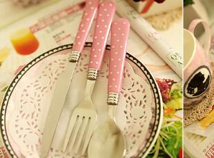 独家。波点控 粉红波点餐具 不锈钢刀叉勺3件套 4套包邮 送储存罐,勺筷,
