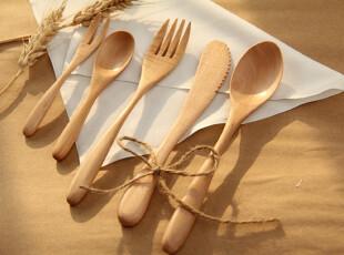 日式木勺/筷/叉子餐具  zakka便携套装 木质西餐刀叉 水果叉,勺筷,
