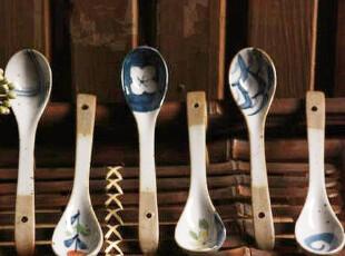 zakka 和风日式 自然质朴手绘陶瓷勺子 饭勺小汤勺 6款可选,勺筷,
