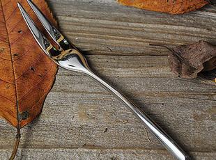 不锈钢 斜边二齿水果叉,勺筷,