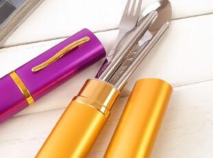 新品!不锈钢三件套餐具 环保勺子韩国便携餐具叉子 折叠筷子套装,勺筷,