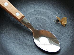 FEN ZAKKA 杂货  不锈钢木柄汤匙(小号) 三款型号可选,勺筷,