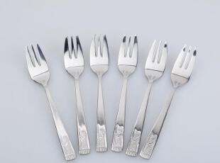 出口美国 银色国王不锈钢水果叉 叉子 点心叉 0.9元一只 莱珍斯,勺筷,