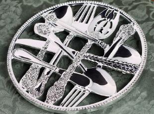 外贸出口名品 素银宫殿 包银墙挂饰 锅垫 摆件 高档欧式餐桌饰品,勺筷,