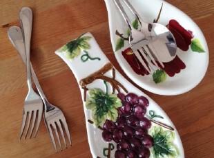 外贸余单 彩绘陶瓷 立体浮雕 紫葡萄/苹果 勺子架,勺筷,