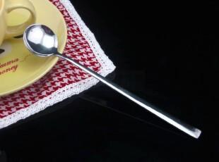 韩式不锈钢冰勺/长柄西瓜勺/长把咖啡勺/圆头果汁小勺子/餐具批发,勺筷,