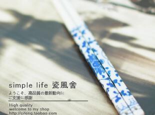 外贸出口余单创意陶瓷餐具搭配百搭环保青花瓷骨瓷筷子套装 促销,勺筷,