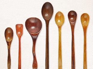 优质酸枣木 汤勺 木勺 小勺子 长柄勺 木质 出口日本  多款,勺筷,