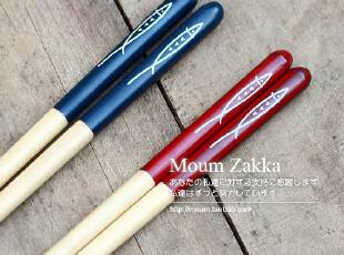 日式小鱼木筷 原木 实木制筷子 红蓝两色 情侣筷 木制餐具 厨房,勺筷,
