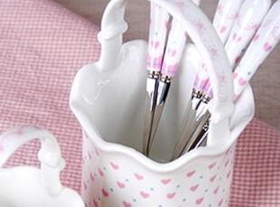 AA【韩国家居】蕾丝粉粉爱心 食勺4个+蛋糕叉4个+收纳罐1个,勺筷,