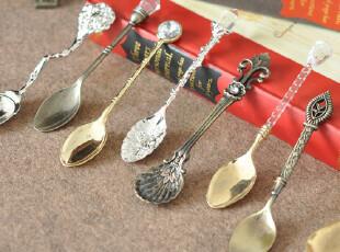 外贸复古小奢华摆设装饰品勺咖啡冰淇淋勺,可作道具摆设 可实际用,勺筷,