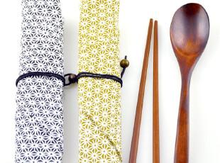 6套包邮 日式和风布袋红木筷子木勺旅游环保便携式餐具三件套装,勺筷,